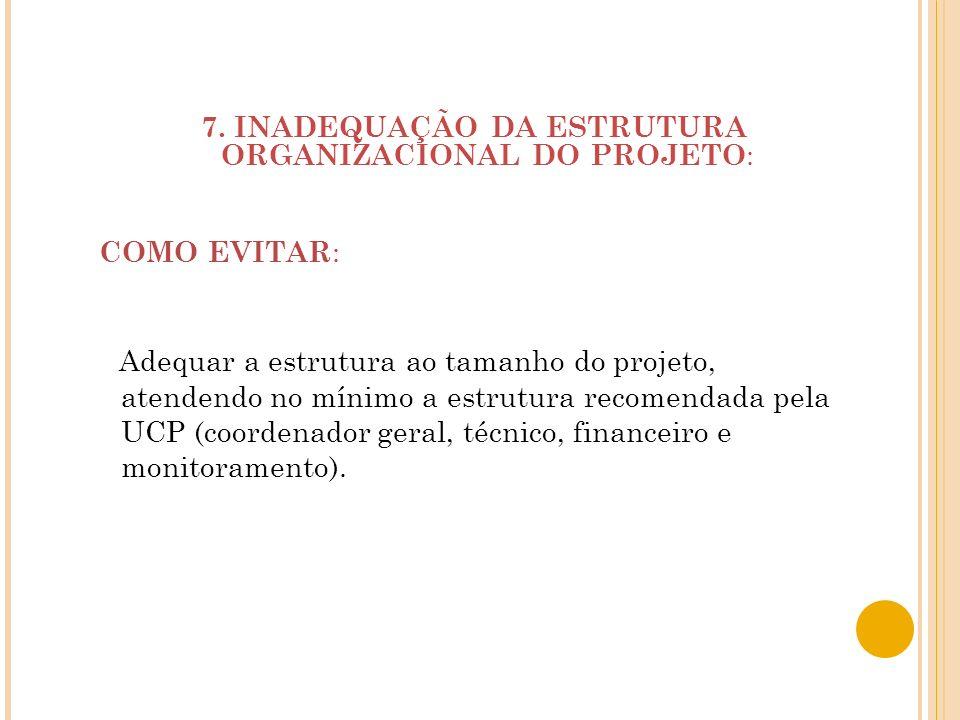 7. INADEQUAÇÃO DA ESTRUTURA ORGANIZACIONAL DO PROJETO: