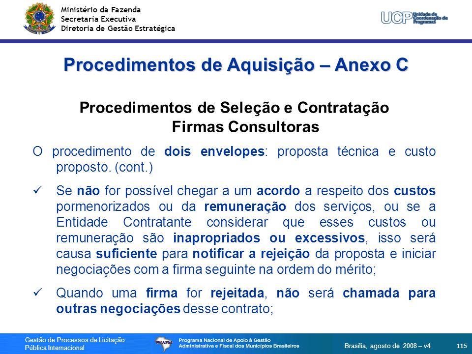 Procedimentos de Aquisição – Anexo C