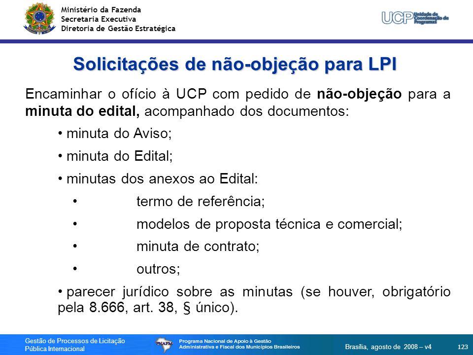 Solicitações de não-objeção para LPI