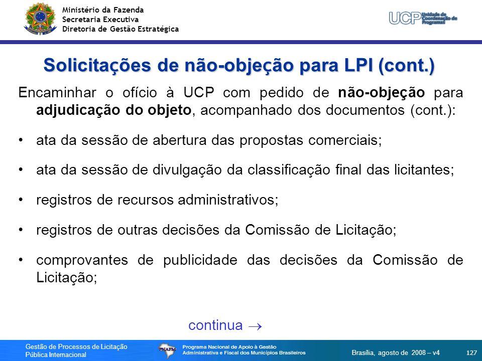 Solicitações de não-objeção para LPI (cont.)