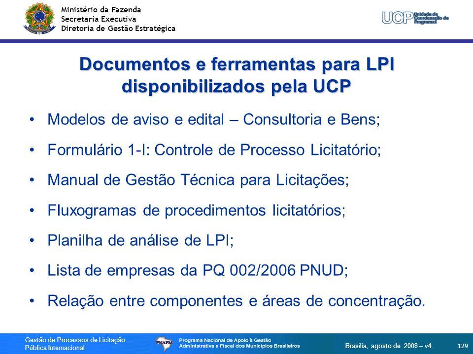 Documentos e ferramentas para LPI disponibilizados pela UCP