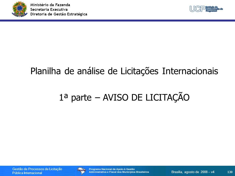 Planilha de análise de Licitações Internacionais