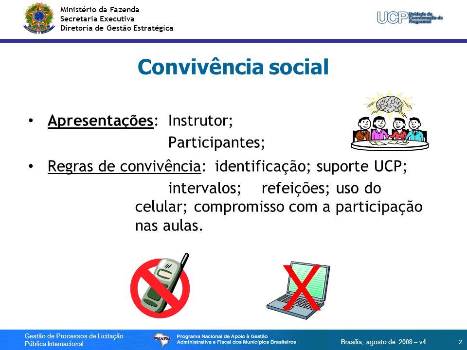 X Convivência social Apresentações: Instrutor; Participantes;