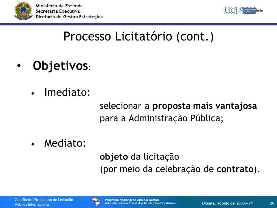 Processo Licitatório (cont.)