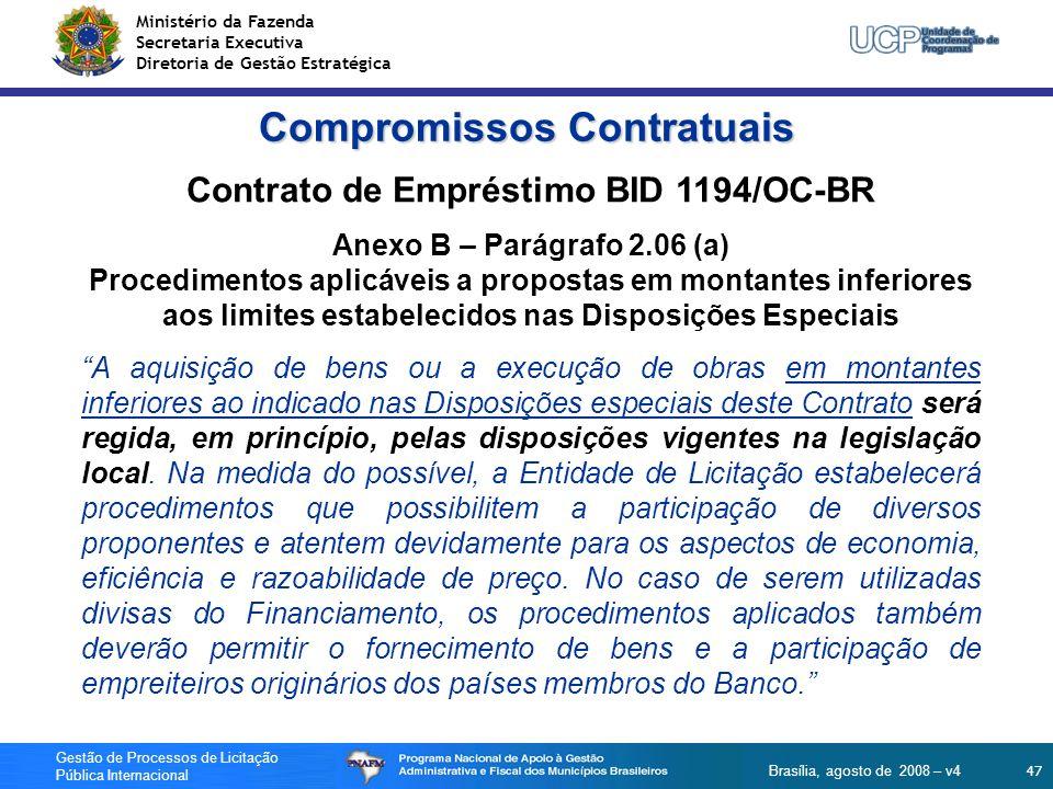Compromissos Contratuais Contrato de Empréstimo BID 1194/OC-BR