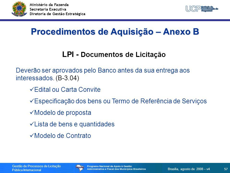 Procedimentos de Aquisição – Anexo B LPI - Documentos de Licitação