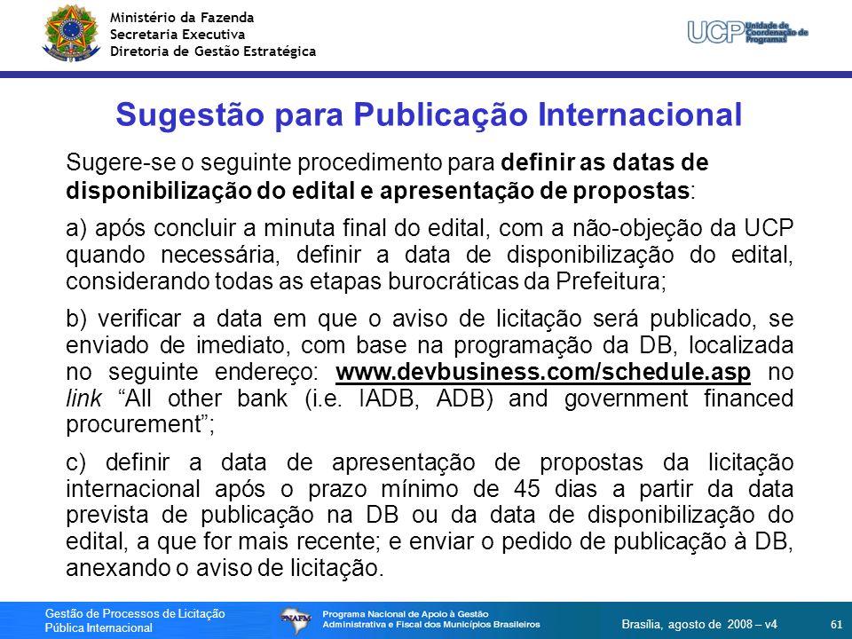 Sugestão para Publicação Internacional