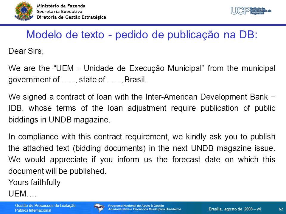 Modelo de texto - pedido de publicação na DB: