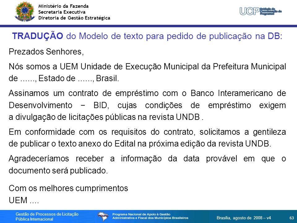 TRADUÇÃO do Modelo de texto para pedido de publicação na DB: