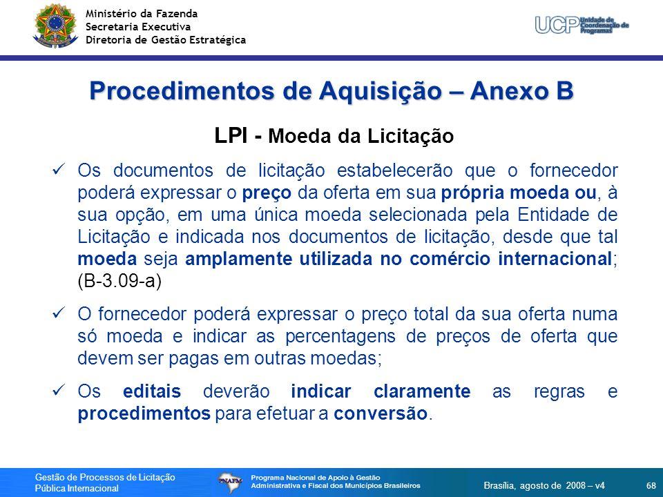 Procedimentos de Aquisição – Anexo B LPI - Moeda da Licitação