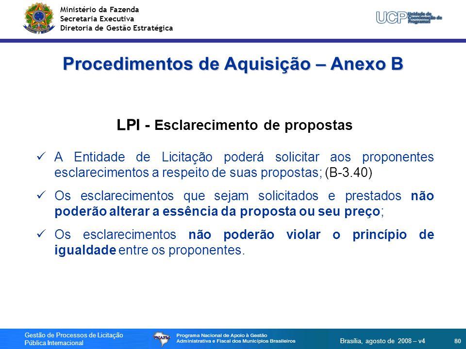 Procedimentos de Aquisição – Anexo B LPI - Esclarecimento de propostas