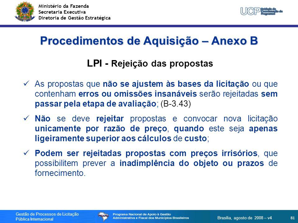 Procedimentos de Aquisição – Anexo B LPI - Rejeição das propostas