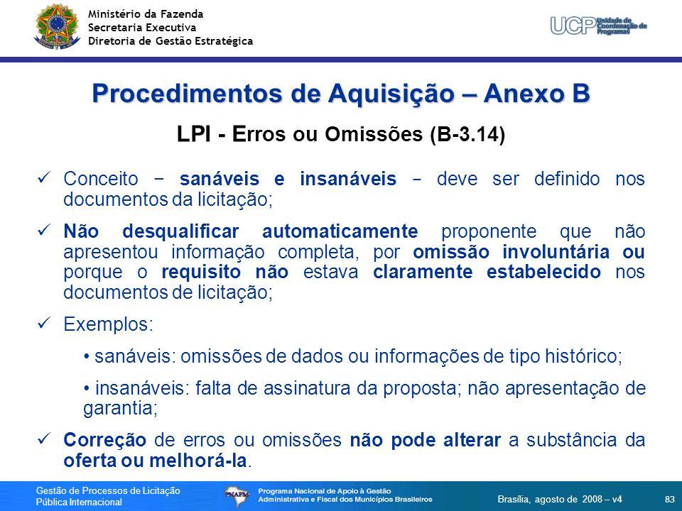 Procedimentos de Aquisição – Anexo B LPI - Erros ou Omissões (B-3.14)