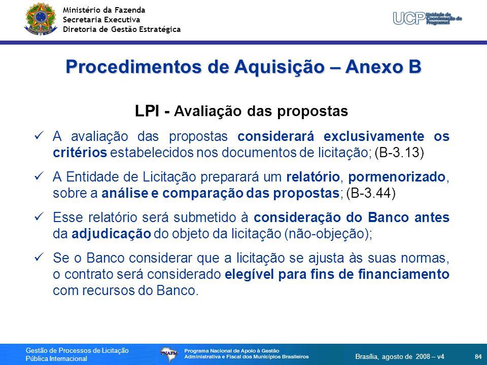 Procedimentos de Aquisição – Anexo B LPI - Avaliação das propostas