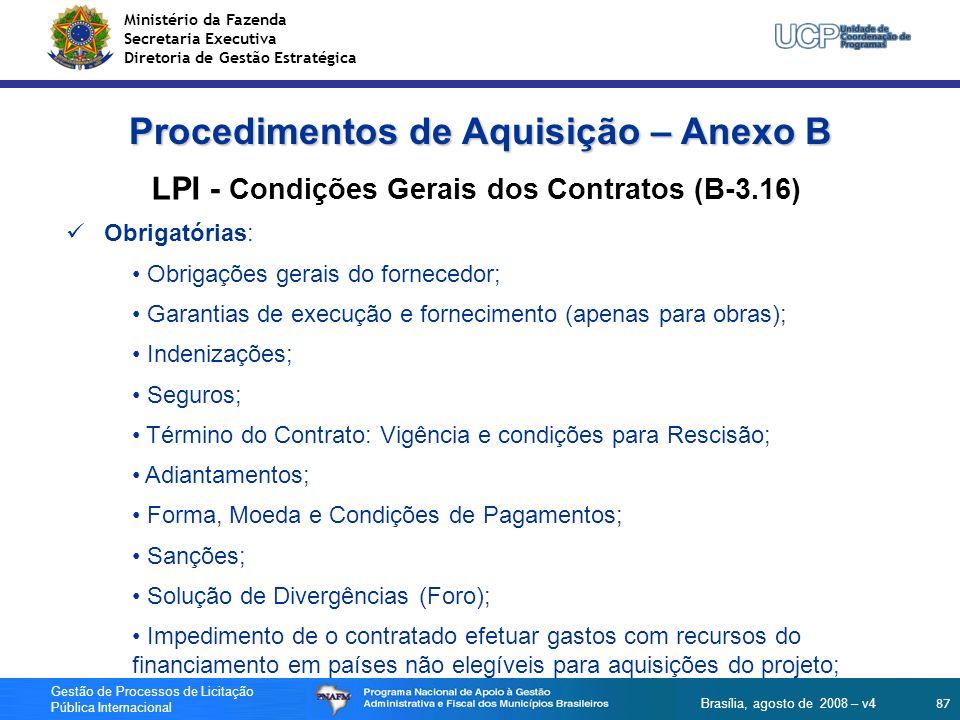 Procedimentos de Aquisição – Anexo B