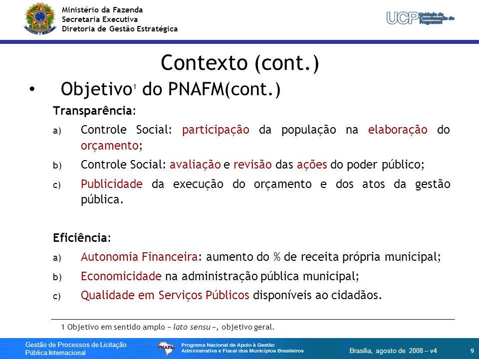 Contexto (cont.) Objetivo1 do PNAFM(cont.) Transparência: