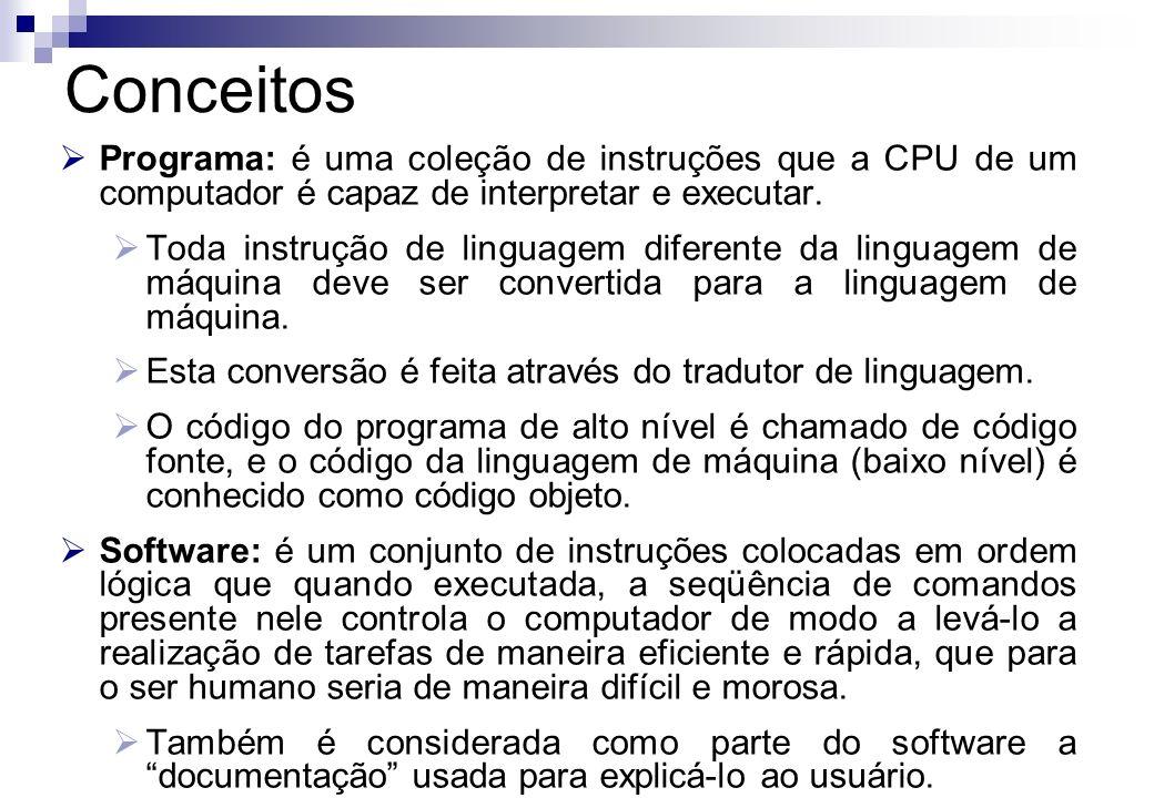 Conceitos Programa: é uma coleção de instruções que a CPU de um computador é capaz de interpretar e executar.