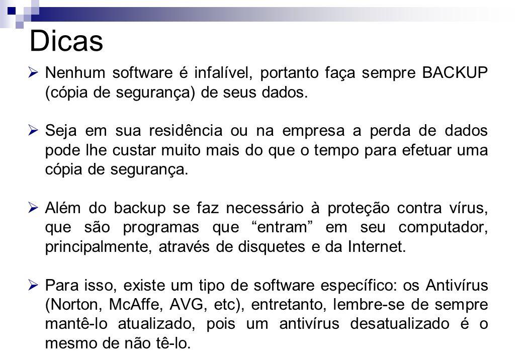 Dicas Nenhum software é infalível, portanto faça sempre BACKUP (cópia de segurança) de seus dados.