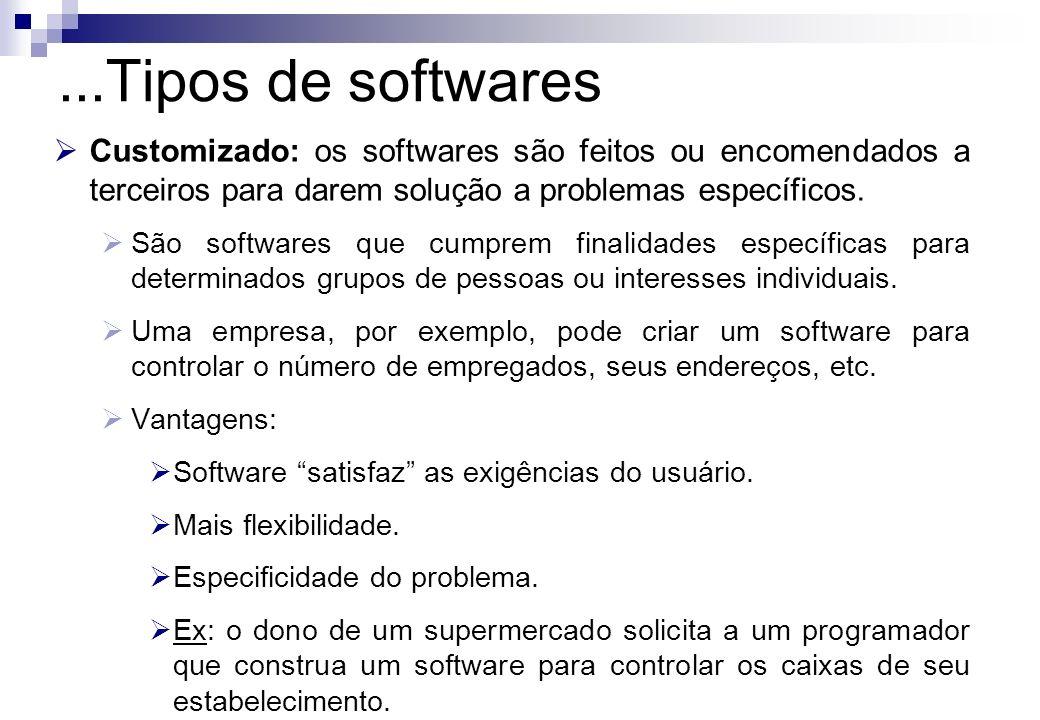 ...Tipos de softwares Customizado: os softwares são feitos ou encomendados a terceiros para darem solução a problemas específicos.