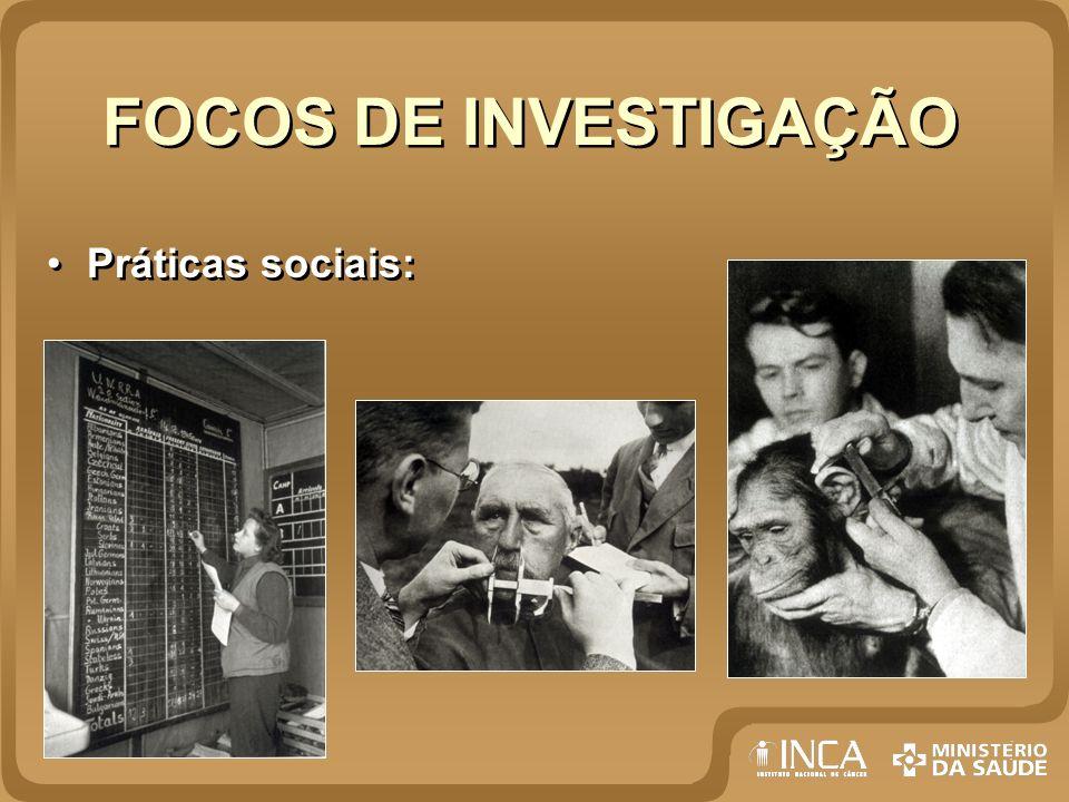 FOCOS DE INVESTIGAÇÃO Práticas sociais: