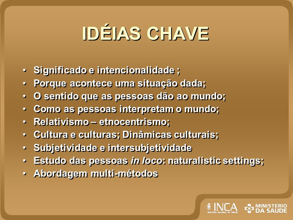 IDÉIAS CHAVE Significado e intencionalidade ;