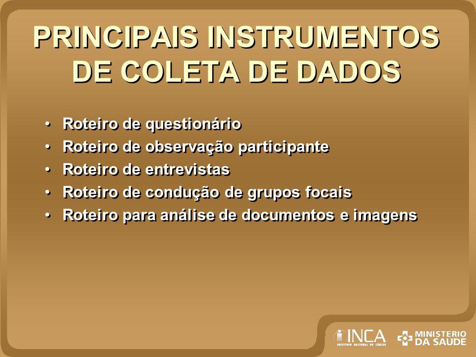 PRINCIPAIS INSTRUMENTOS DE COLETA DE DADOS