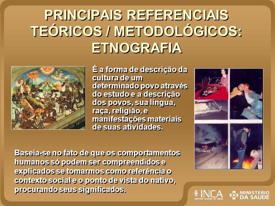 PRINCIPAIS REFERENCIAIS TEÓRICOS / METODOLÓGICOS: ETNOGRAFIA