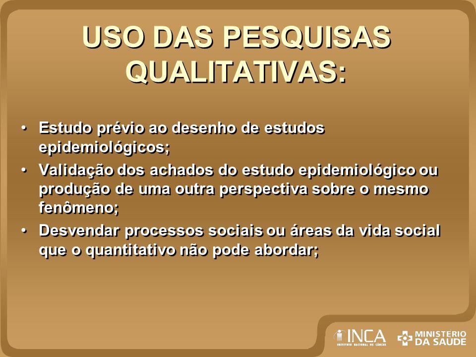 USO DAS PESQUISAS QUALITATIVAS:
