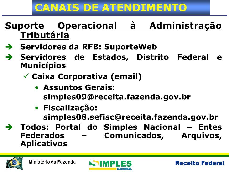 CANAIS DE ATENDIMENTO Suporte Operacional à Administração Tributária