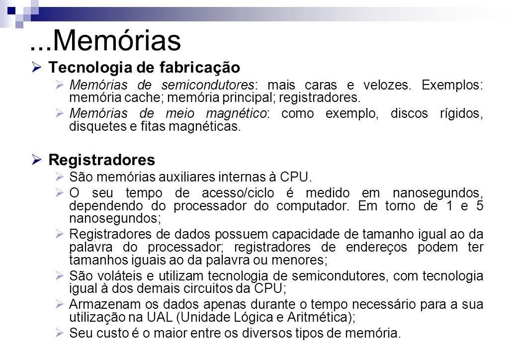...Memórias Tecnologia de fabricação Registradores