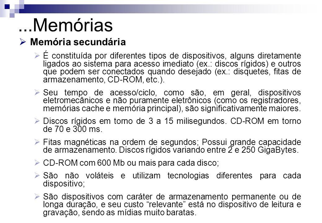 ...Memórias Memória secundária