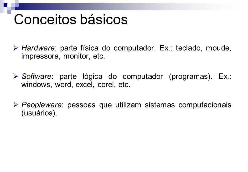 Conceitos básicos Hardware: parte física do computador. Ex.: teclado, moude, impressora, monitor, etc.