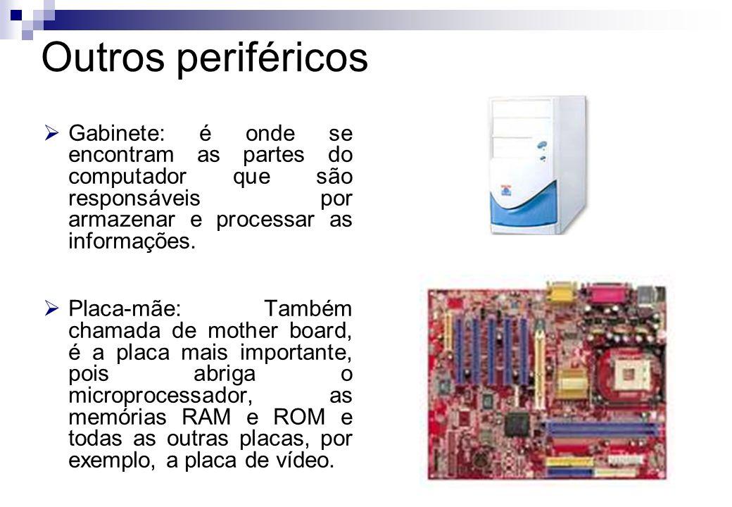 Outros periféricos Gabinete: é onde se encontram as partes do computador que são responsáveis por armazenar e processar as informações.