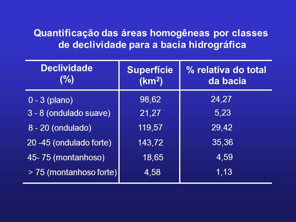 Quantificação das áreas homogêneas por classes