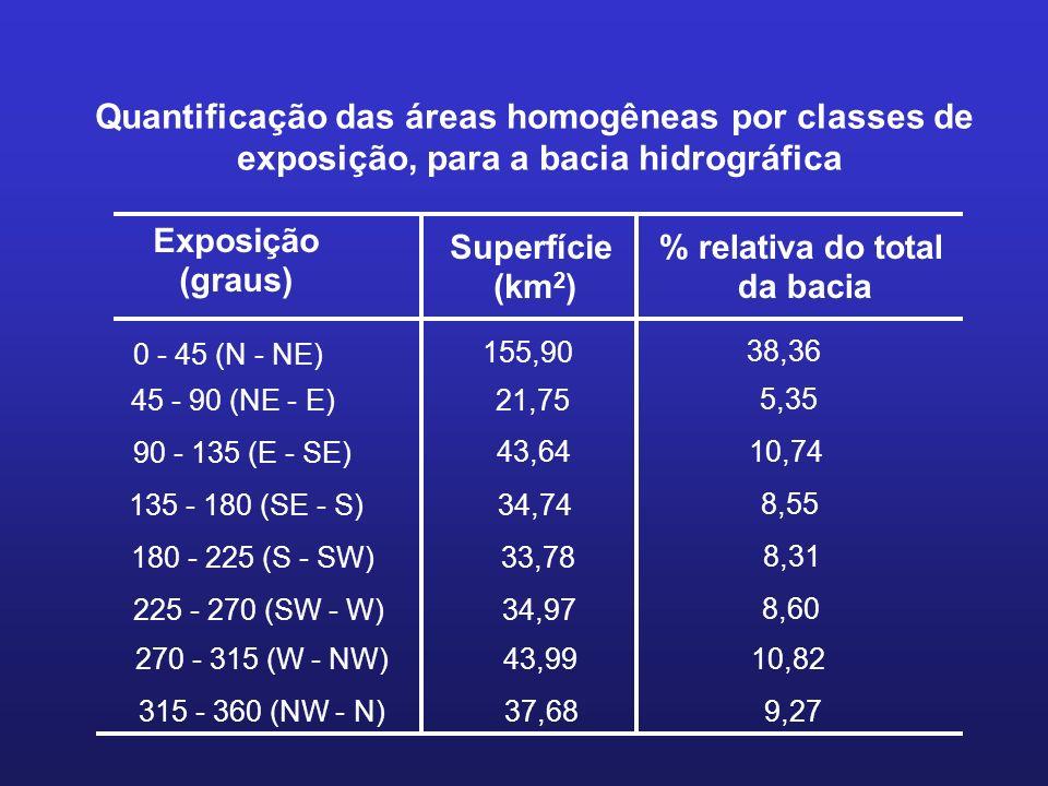 Quantificação das áreas homogêneas por classes de