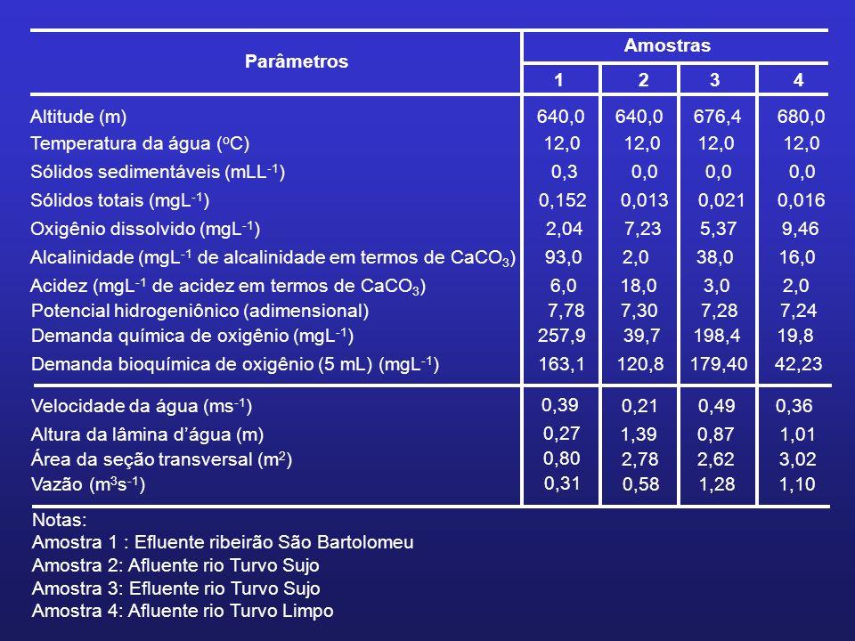 ParâmetrosAmostras. 1. 2. 3. 4. Altitude (m) 640,0. 676,4. 680,0. Temperatura da água (oC) 12,0. Sólidos sedimentáveis (mLL-1)