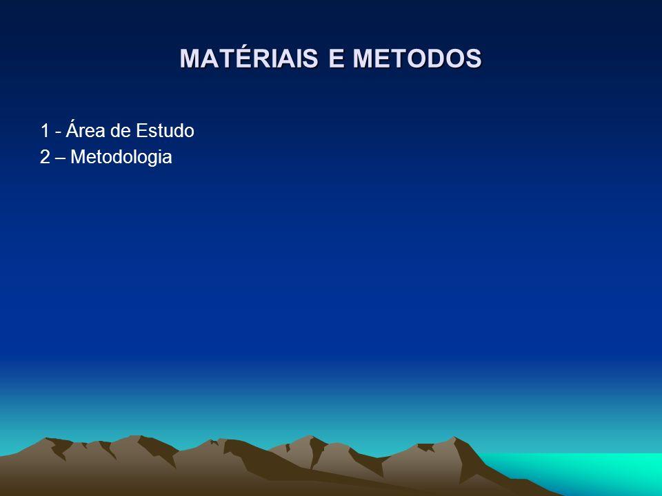 MATÉRIAIS E METODOS 1 - Área de Estudo 2 – Metodologia