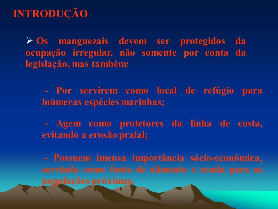 INTRODUÇÃOOs manguezais devem ser protegidos da ocupação irregular, não somente por conta da legislação, mas também: