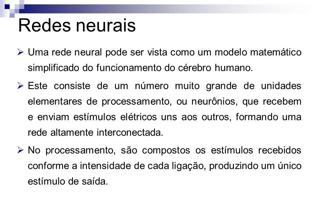 Redes neurais Uma rede neural pode ser vista como um modelo matemático simplificado do funcionamento do cérebro humano.
