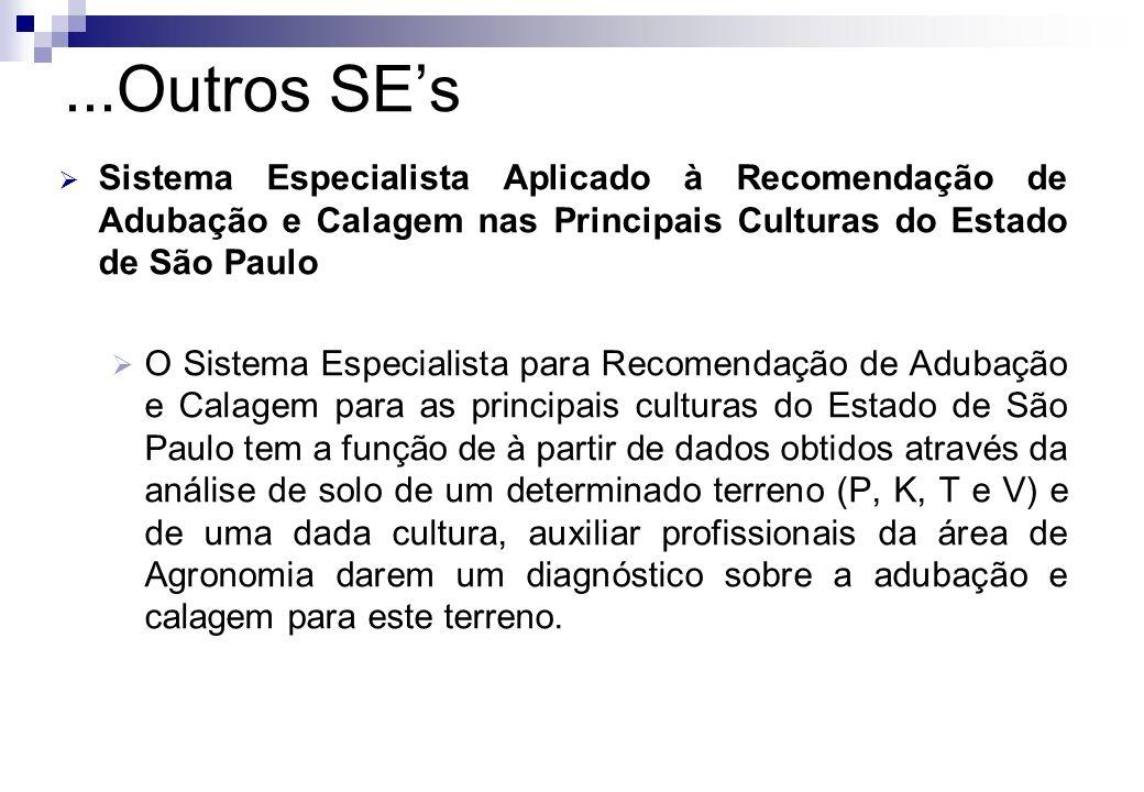 ...Outros SE's Sistema Especialista Aplicado à Recomendação de Adubação e Calagem nas Principais Culturas do Estado de São Paulo.