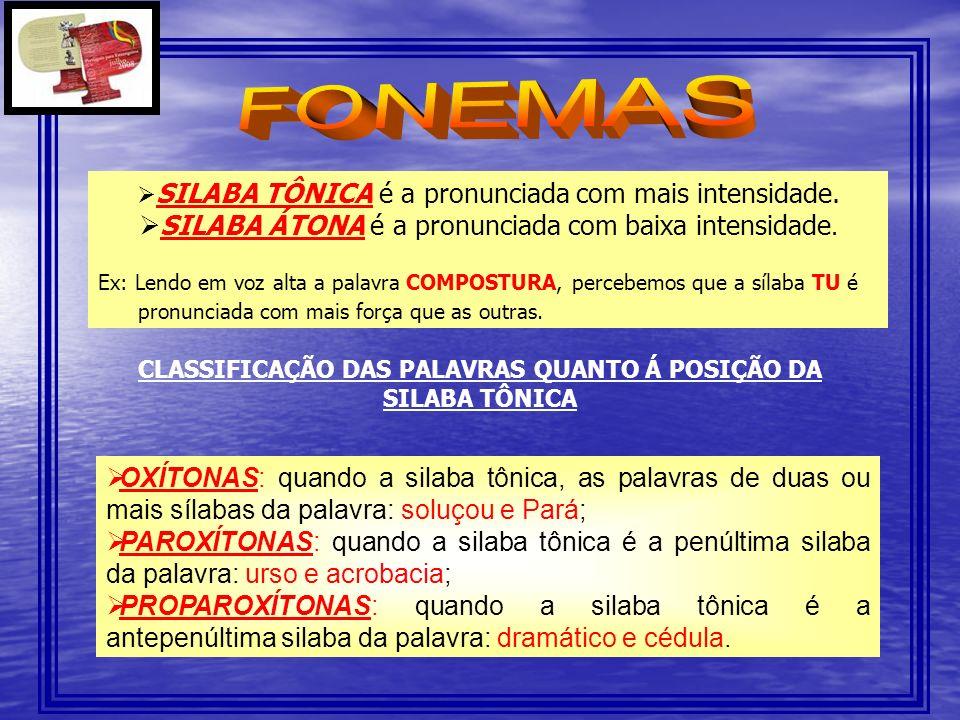 CLASSIFICAÇÃO DAS PALAVRAS QUANTO Á POSIÇÃO DA SILABA TÔNICA