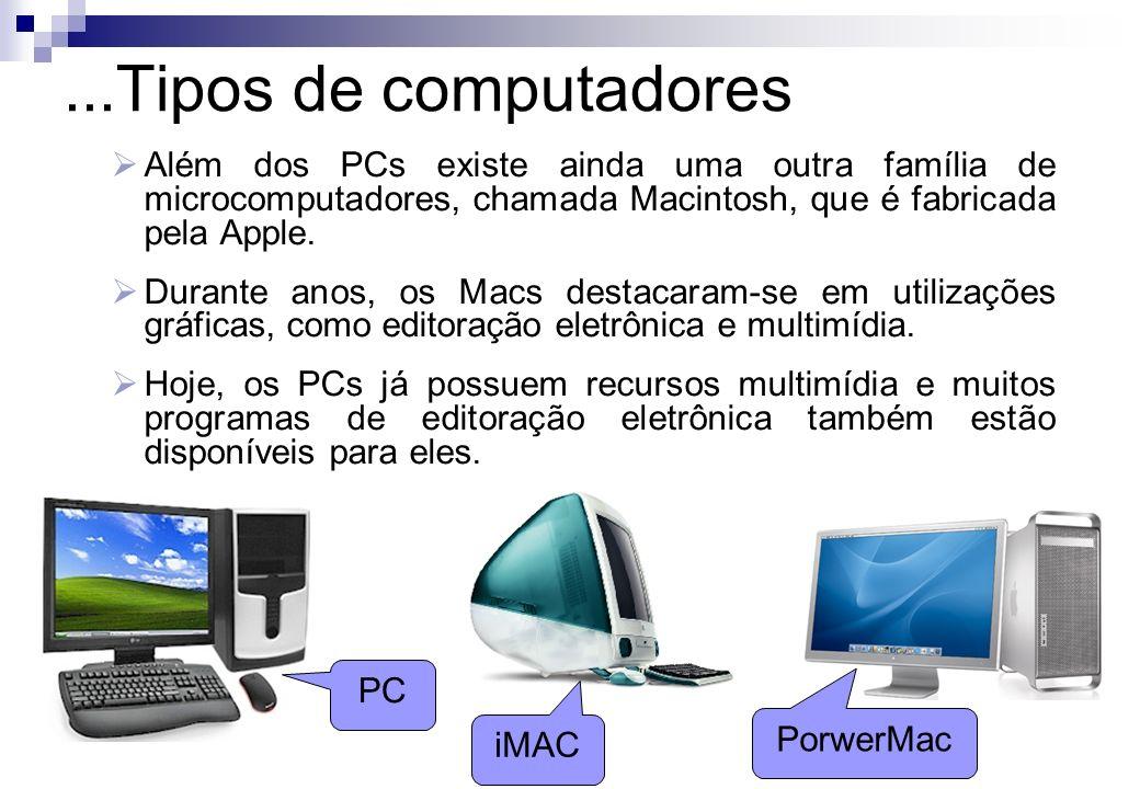 ...Tipos de computadoresAlém dos PCs existe ainda uma outra família de microcomputadores, chamada Macintosh, que é fabricada pela Apple.