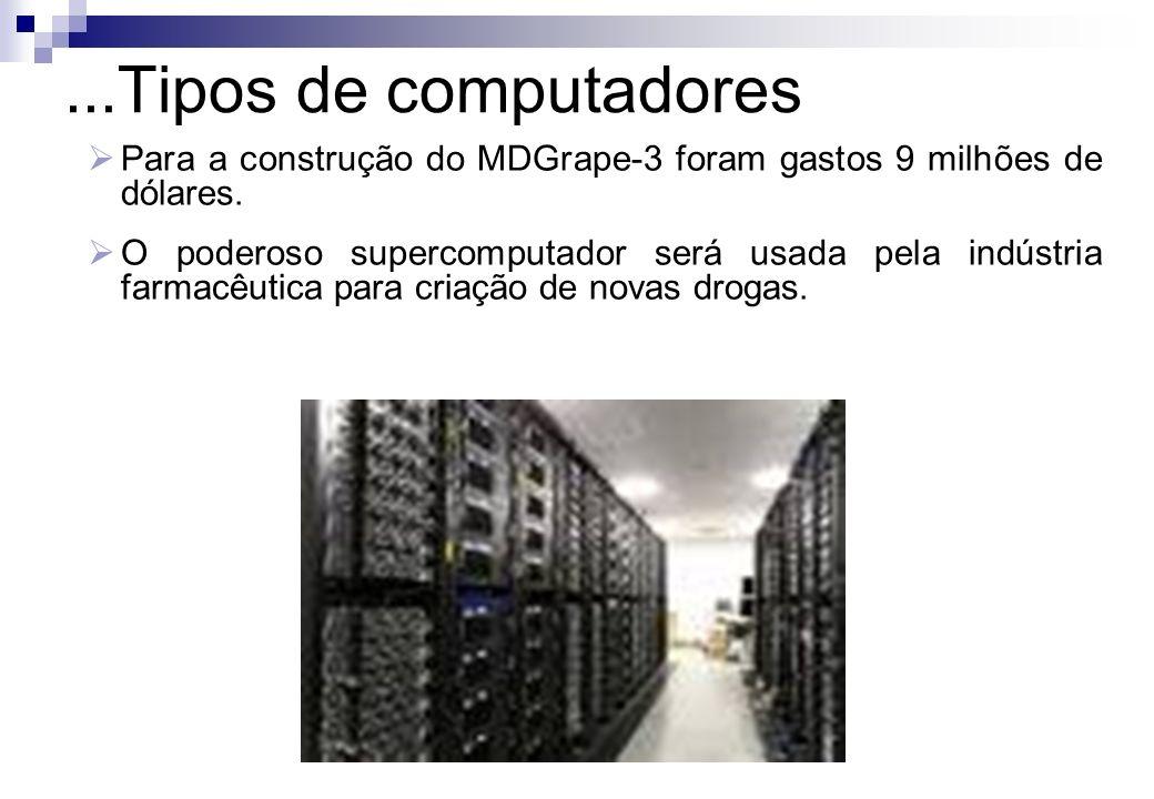 ...Tipos de computadoresPara a construção do MDGrape-3 foram gastos 9 milhões de dólares.