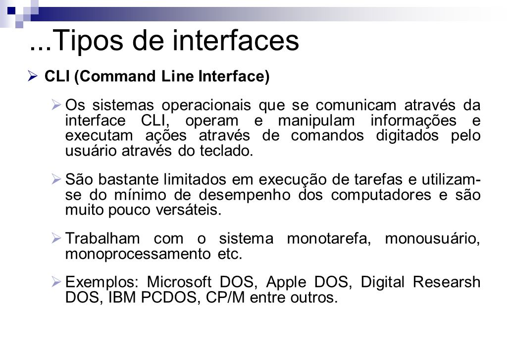 ...Tipos de interfaces CLI (Command Line Interface)