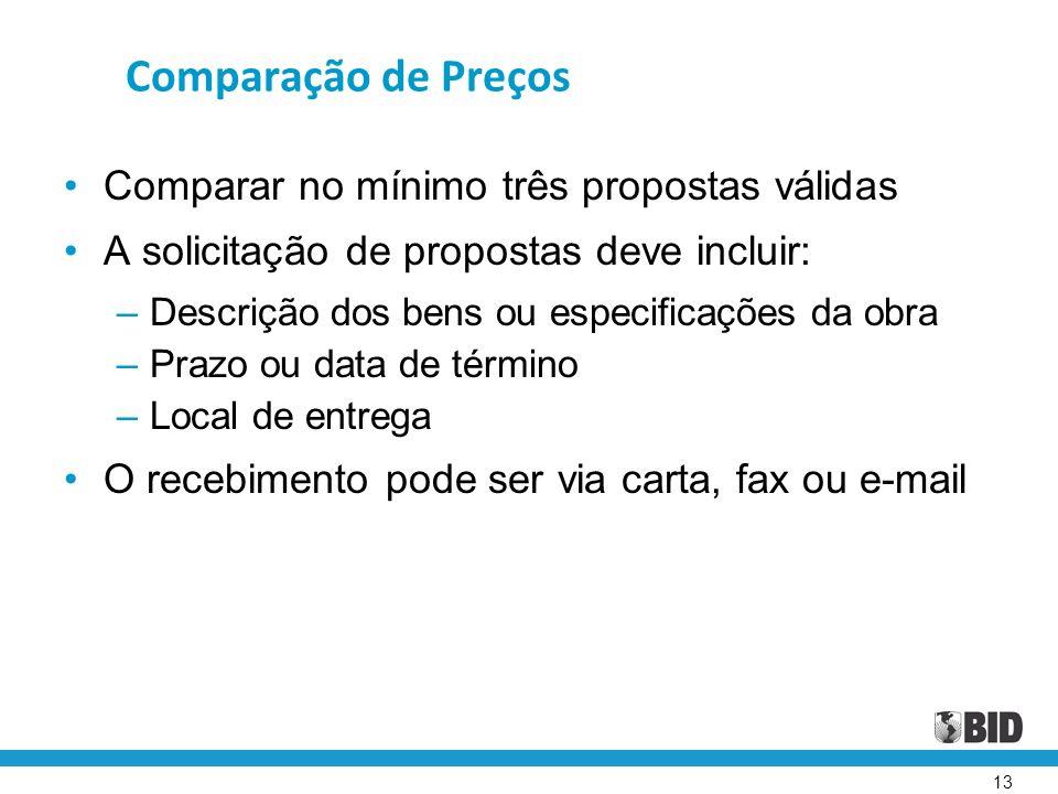 Comparação de Preços Comparar no mínimo três propostas válidas