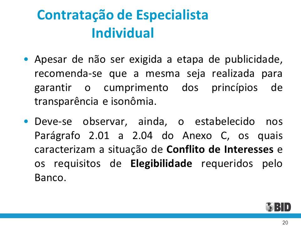 Contratação de Especialista Individual