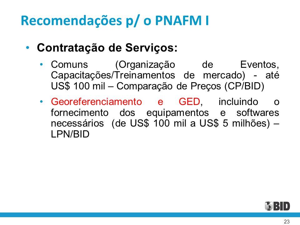 Recomendações p/ o PNAFM I