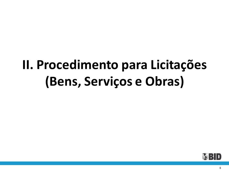 II. Procedimento para Licitações (Bens, Serviços e Obras)
