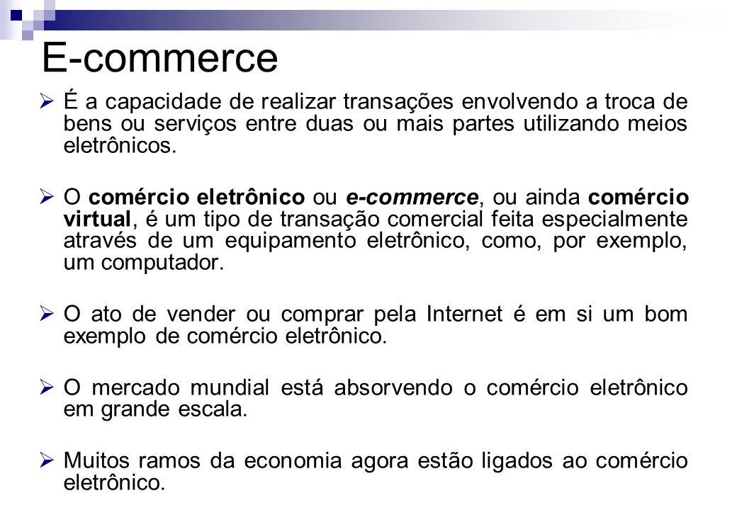 E-commerce É a capacidade de realizar transações envolvendo a troca de bens ou serviços entre duas ou mais partes utilizando meios eletrônicos.