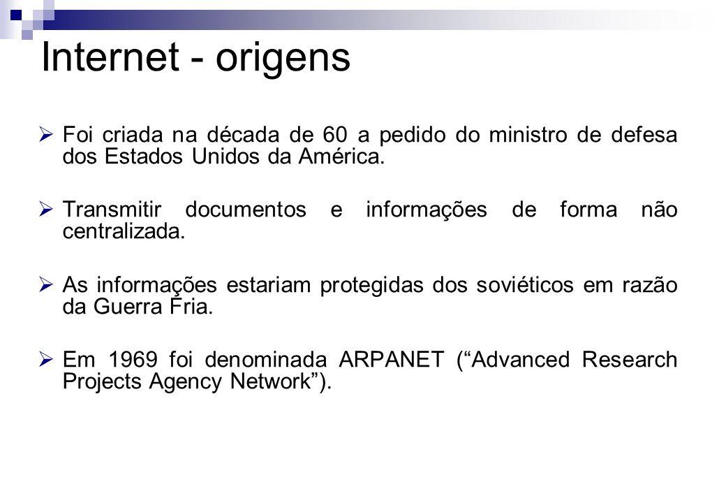 Internet - origens Foi criada na década de 60 a pedido do ministro de defesa dos Estados Unidos da América.